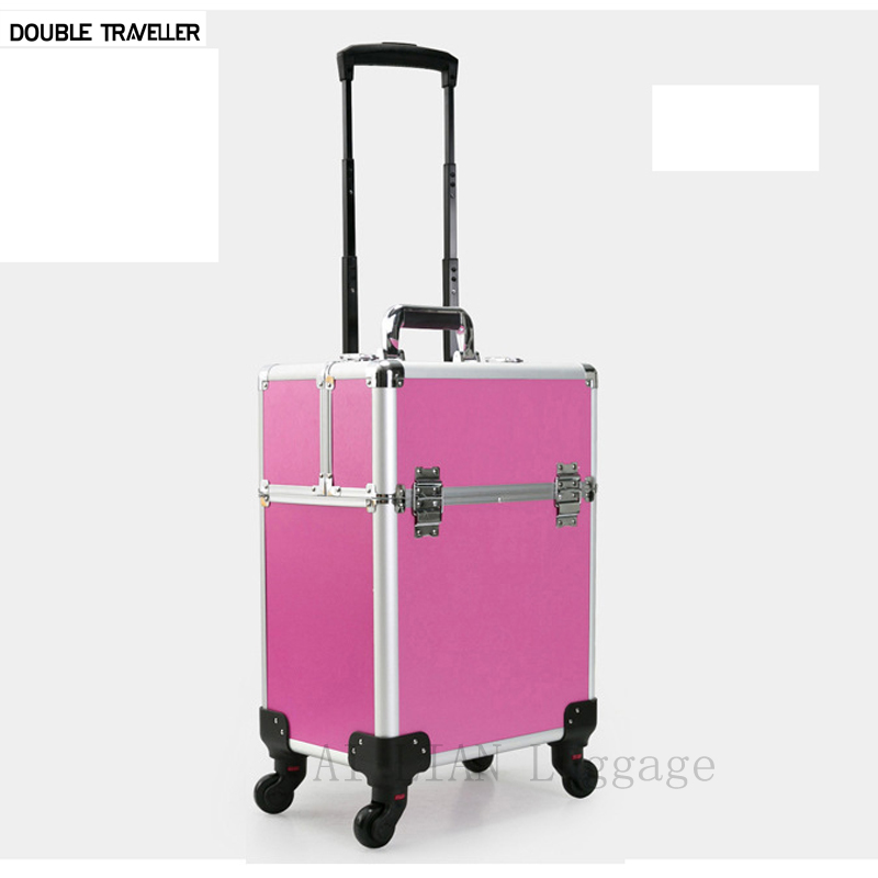 New Trolley luggage make up organizer suitcase Trolley cosmetic bag makeup travel rolling luggage large Multi-layer Beauty case