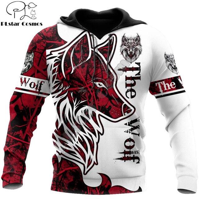 Animal Wolf Tattoo red 3D Printed Hoodie 3