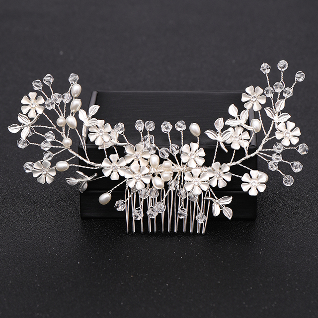 Silver Color Pearl Crystal Wedding Hair Combs Hair Accessories for Bridal Flower Headpiece Women Bride Hair ornaments Jewelry 6