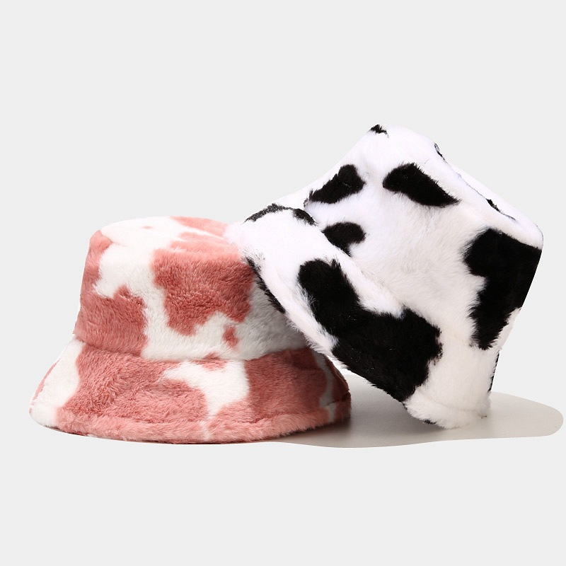 New Winter Cow Print Plush Bucket Hats for Women Tourism Outdoor Warm Hat Soft Velvet Fisherman Cap Lady Fashion Panama Present