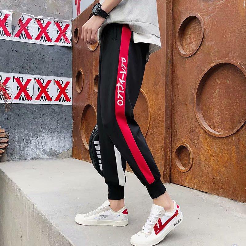 Summer Hong Kong Style Men's Casual Sports Pants Teenager Capri Ankle Banded Pants Korean-style Trend Skinny Students Sweatpants