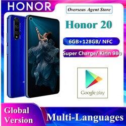 В наличии Honor 20 Huawei оригинальная глобальная версия смартфона 6 ГБ + 128 Гб Kirin 980 Octa Four Camera Super Charge мобильный телефон