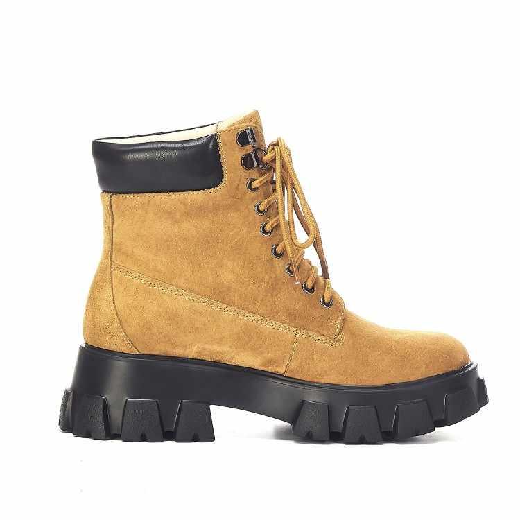 MLJUESE 2020 kadın yarım çizmeler İnek deri yuvarlak ayak kış kısa peluş sarı renk dantel up kadınlar binici çizmeleri parti elbise