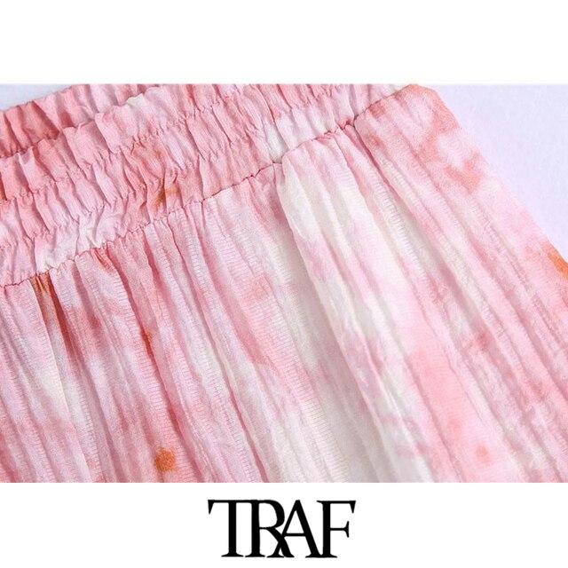 TRAF Women Chic Fashion Side Pockets Tie-dye Print Shorts Vintage High Elastic Waist Female Short Pants Mujer 4
