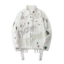 Куртка бомбер Мужская/женская джинсовая оверсайз с принтом надписи