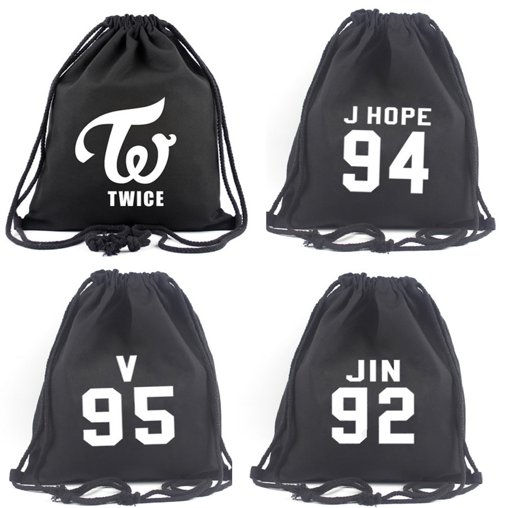 2019 New Style BTS Related Stylish Canvas Bag Wholesale Environmentally Friendly Drawstring Shoulder Backpack Currently Availabl