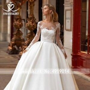 Image 4 - Swanskirtでエレガントな2 1ジャケットのウェディングドレス2020アップリケサテンaライン王女カスタマイズされた花嫁衣装vestidoデ · ノビアI326