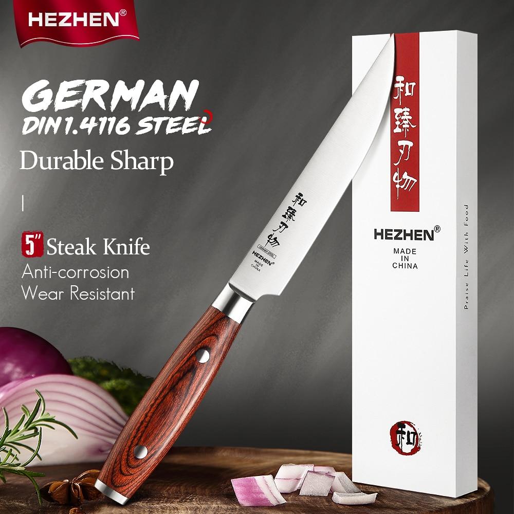 HEZHEN 5 Inches Steak Knife Cut Slice Meat Stainless Steel Rivet Sharp Pakka Wood Handle German DIN1.4116 Steel Kitchen Tool