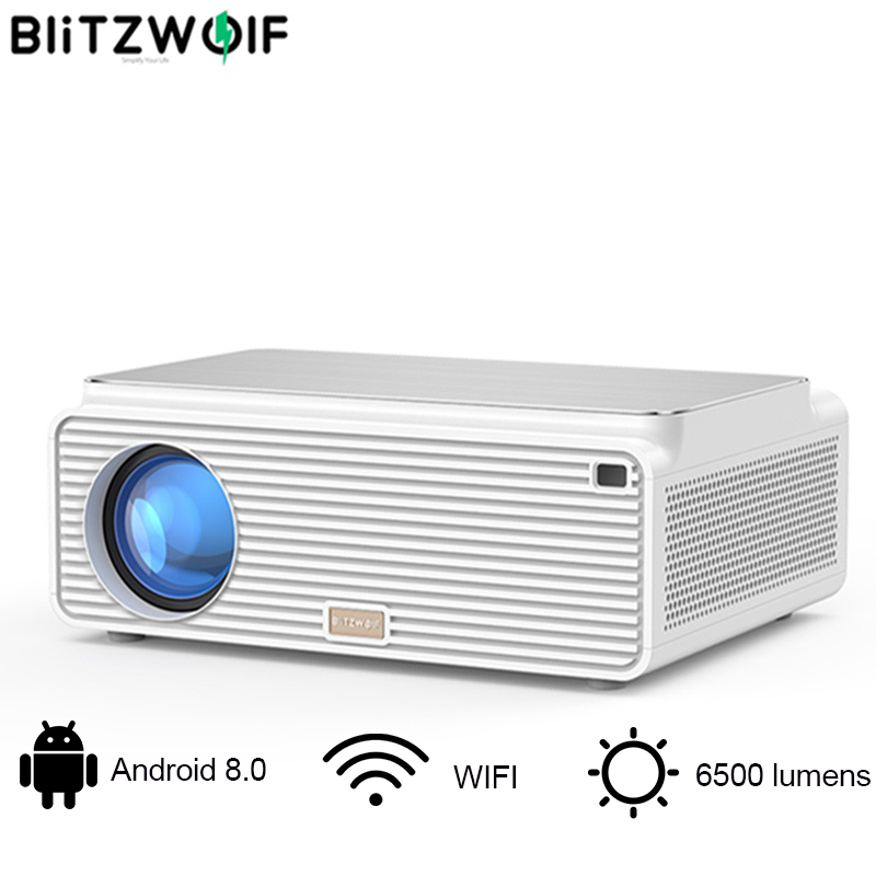 Blitzwolf BW-VP3 LCD Projector 6500 Lumens Android 8.0 16GB Bluetooth 4.0 RJ45 LAN 4K Resolution Portable Home Theatre System