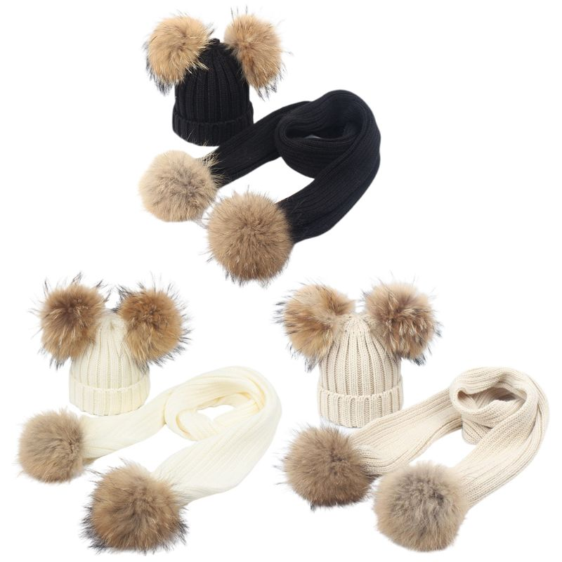 Toddler Baby Winter Chunky Knit Hat Scarf Set Thick Lined Beanie Cap Neck Warmer Y1AC