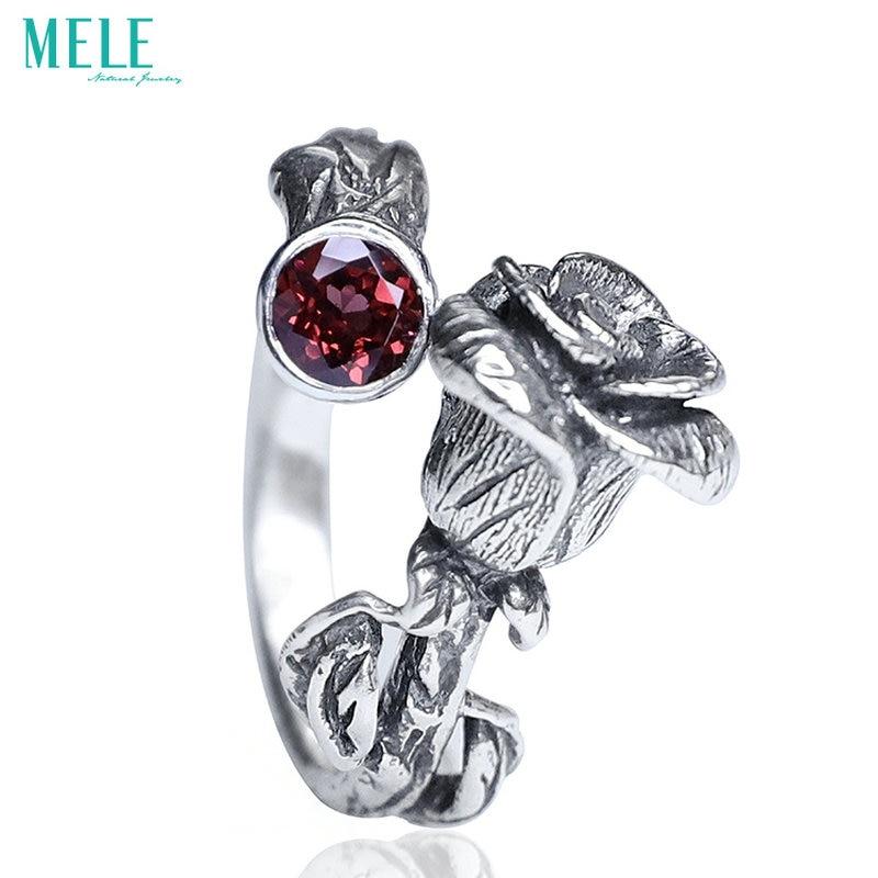Naturel chinois classique style argent 925 bijoux. Grenat Rose rétro anneau pour les femmes, réglable gravure stéréoscopique, paillettes