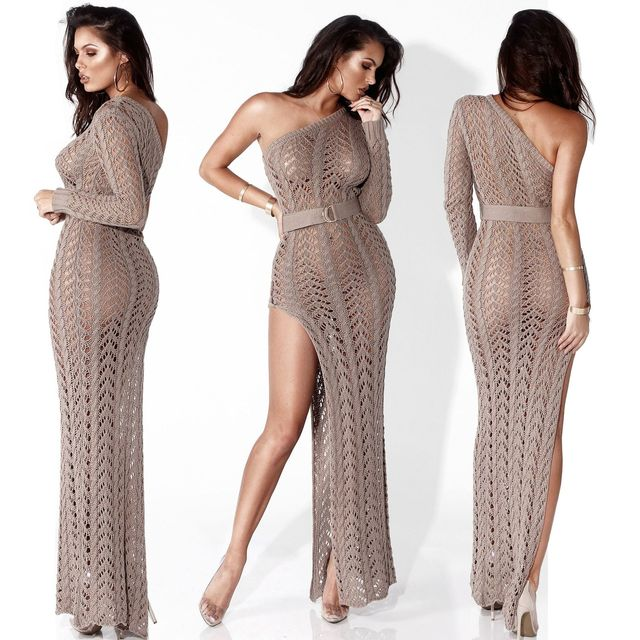 Hollowed-out knit beach dress sexy one-shouldered long-sleeved high-slit tight club party dress 1