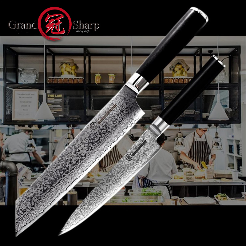 Grandsharp Damascus Knife Set 2 Pcs Damascus Japanese Steel Kitchen Knives 67 Layers vg10 Chef Utility Damascus Kitchen Knives