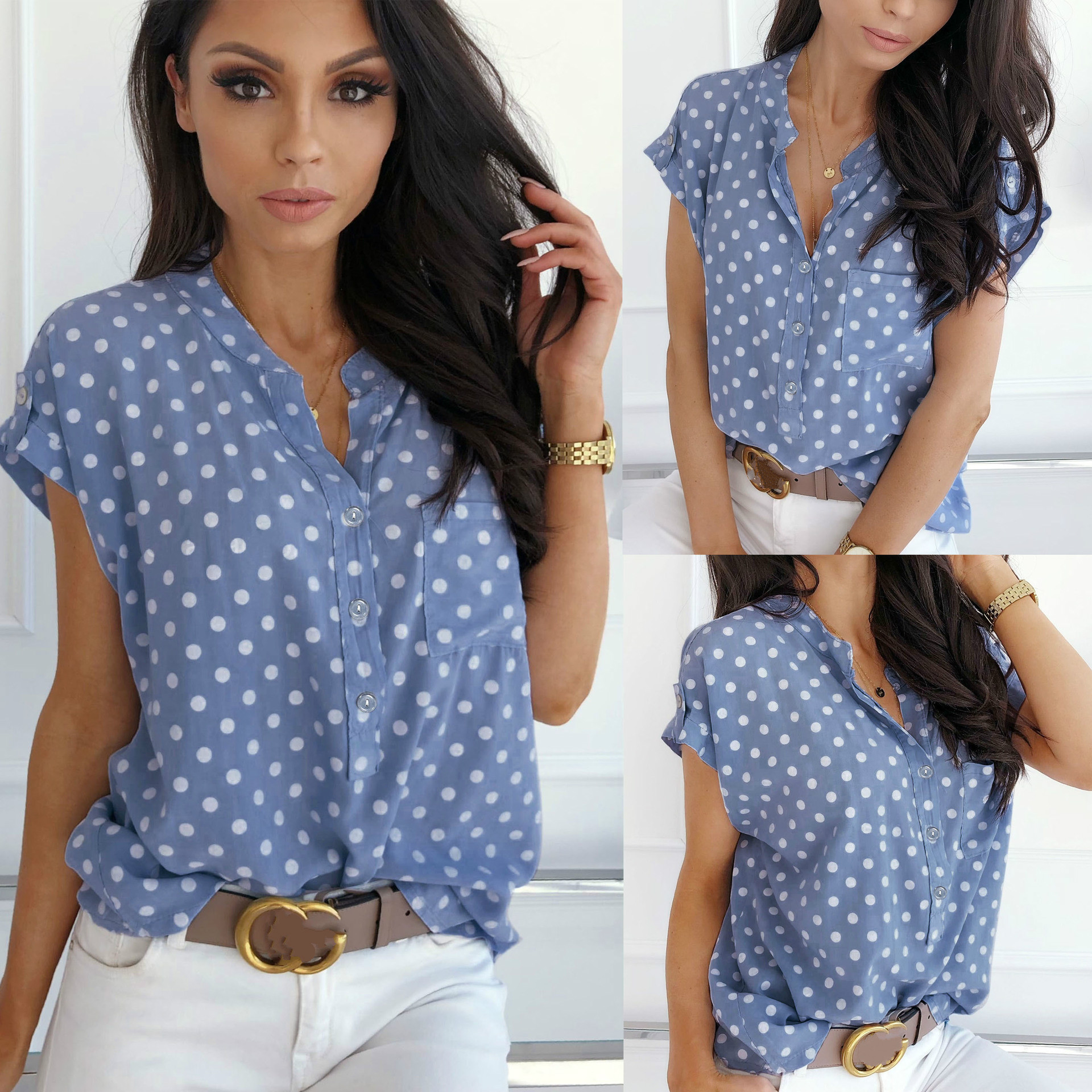 2019 Summer Women   Shirt   Polka Dot Blue V Neck Chiffon Short Sleeve Women Tops Women   Blouse   Summer Tops