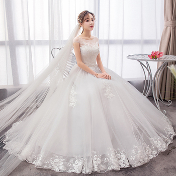 Luxury Wedding Dress 2020 New Style French Bride Retro Female Wedding Dresses Ball Gowns Bridal Lace Up Embroidery Dress