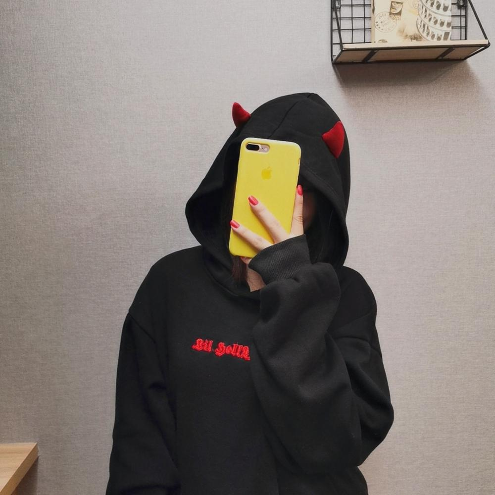 Autumn Black Hoodie Sweatshirt Women Harajuku Devil Wing Hoodies Sweatshirt Female Casual Streetwear Pullovers Cosplay Fleece