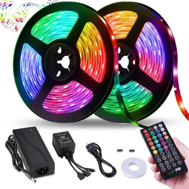 Bande lumineuse RGB 5050 + prise adaptateur, ruban déclairage Flexible 10m, 30 diodes, 12V, 40 touches, contrôleur musical