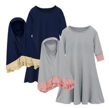 Vestido musulmán Abaya para niñas, 2 uds., hiyab islámico, bufanda, Maxi vestido con mangas largas, oración, Burka, Jilbab, Ramadán