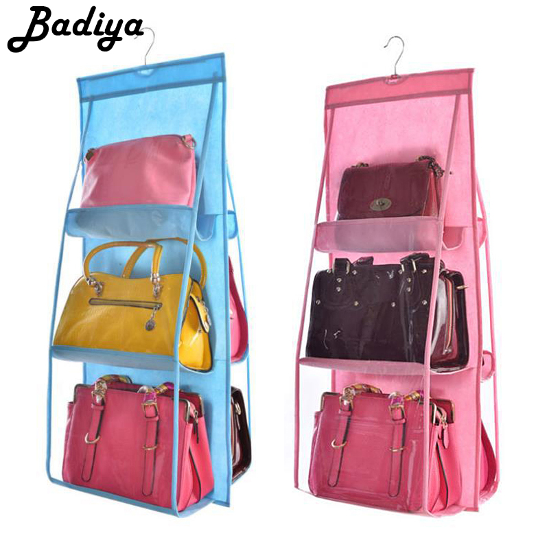 6 Pocket Hanging Bag Organizer Wardrobe Transparent Storage Bag For Handbag Closet Shoes Organizer Door Wall Clear Sundry Pouch