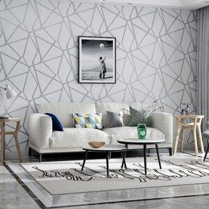 Image 3 - Серая Геометрическая настенная бумага для гостиной, спальни, серо белая узорная Современная дизайнерская настенная бумага в рулоне, домашний декор