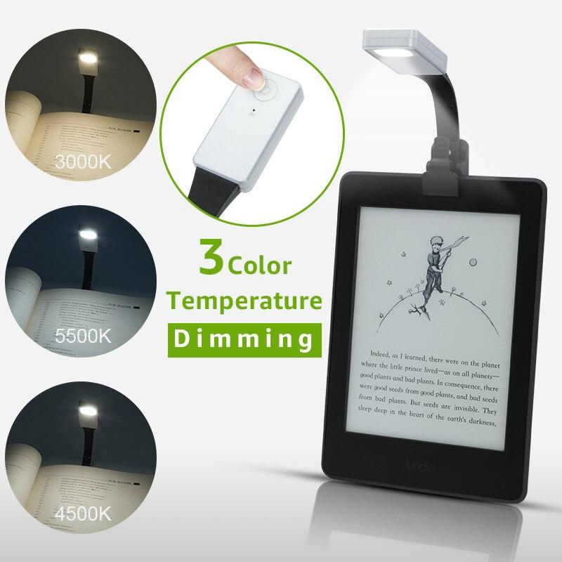 3 цвета перезаряжаемая электронная книга Светодиодная лампа для Kindle бумаги USB светодиодная лампа для чтения гибкая электронная книга с зажи...