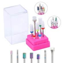 7 шт керамических пилок для ногтей, сверло для маникюра, электрическая шлифовальная полировальная головка, набор фрезерных сверл для ногтей, полировальная головка