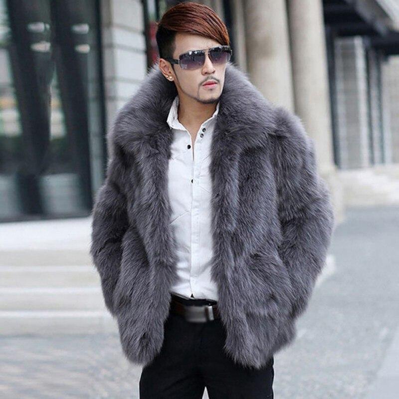 Manteau en fausse fourrure pour hommes vêtements à manches longues col rabattu pardessus poilu vêtements d'hiver chauds manteau poilu jaqueta de couro. w