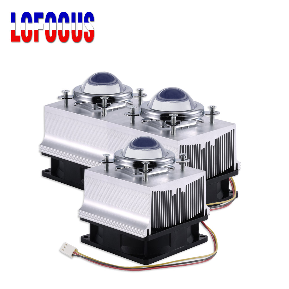 <font><b>LED</b></font> <font><b>Heatsink</b></font> Cooling Radiator + 60 90 120 Degrees Lenes + Reflector Bracket + Fans For 20 30 50 100 W Watt <font><b>LED</b></font> COB image