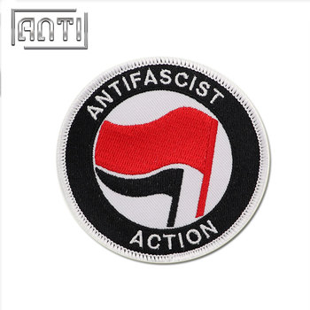 custom embroidery black color white red Flag ANTIFASCIST ACTION circular patches