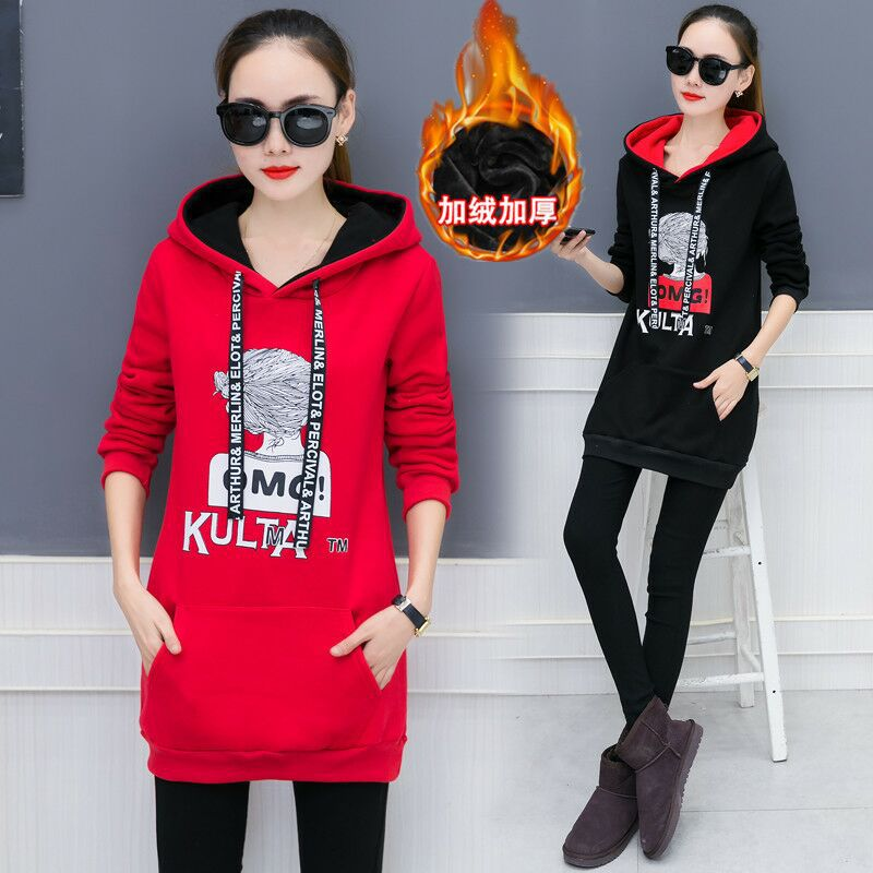 2019 Autumn And Winter New Large Women's Mid Length Hooded Thickened Plush Loose Coat Bts Hoodies Sweatshirts Kpop Harajuku