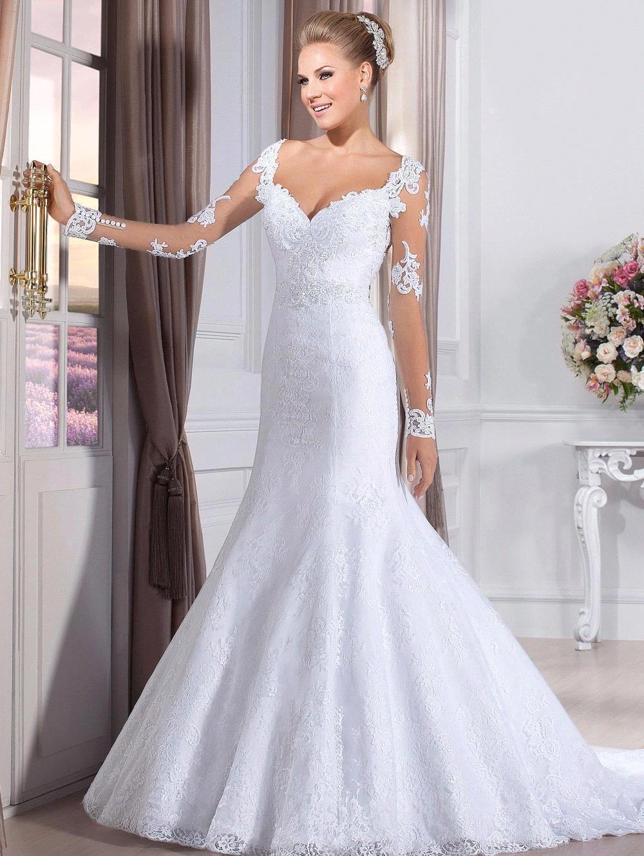 Vestido De Noiva Sexy Sweetheart Long Sleeve Mermaid Wedding Dresses See Through Back Lace Bride Dress 2016