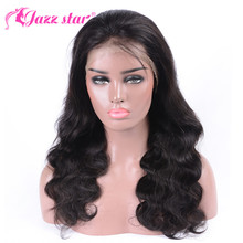 Wig Brazilian Lace-Wig Human-Hair Body-Wave Jazz Star Plucked Black Women 13x4 for
