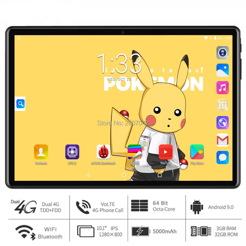 Free Shipping 5G WiFi 10 Inch Octa Core Tablet 3GB RAM  32GB ROM Android 9 OS 1280x800 HD IPS Screen 5.0MP Camera 4G FDD LTE GPS