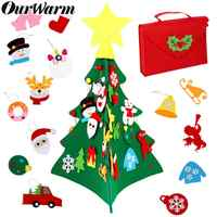 OurWarm Upgraded 3D DIY Felt Toddler Christmas Tree 2020 New Year Gift Educational Toys Hanging Pendant Christmas Party Supplies