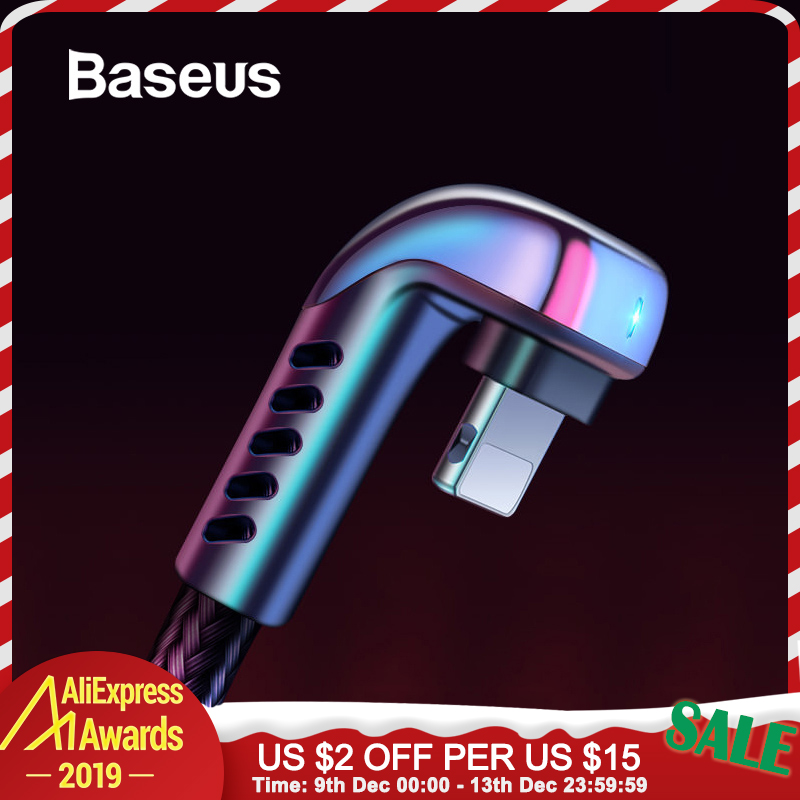 Baseus USB Cable for iPhone XR 2.4A Elbow Green LED Fast Charging Cable for iPhone 11 X 8 7 6 6s Plus IOS Data Charger USB Cable-in Mobile Phone Cables from Cellphones & Telecommunications on AliExpress