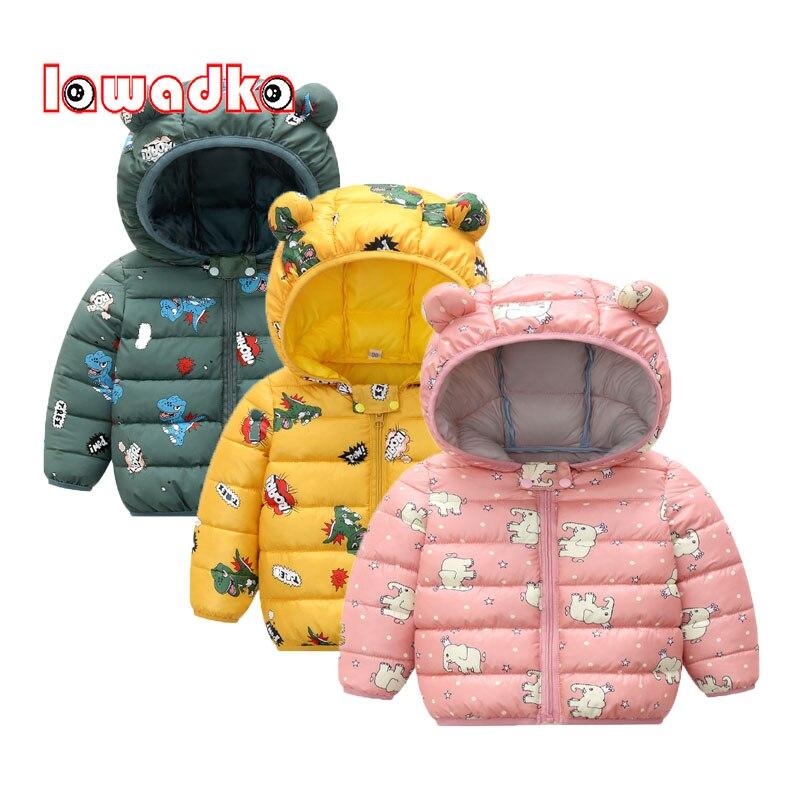 Baby Mädchen Kleidung Winter Mantel Unten Baumwolle Cartoon Hooded Zipper Baby Jungen Kleidung Oberbekleidung Mode Baby Schneeanzug Overalls 2020