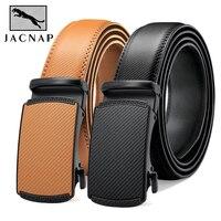 JACNAIP-Cinturón de cuero de vaca con hebilla automática para hombre, cinturón negro de cuero genuino, ajustable, más Color, 3,5 cm de ancho