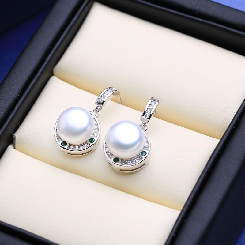 FENASY 925 Sterling Silver Natural Freshwater Pearl Drop Earrings Engagement jewelry Green Crystal Boho Long Earrings For Women