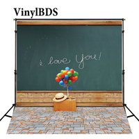VinylBDS Colored Balloons Colorful  Flooring Background Classroom Blackboard I Love You Valentine Backdrops