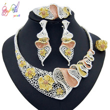 Yulaili Trendy African Flower Silver Color Necklace Earrings Dubai Jewelry Sets for Women Bijoux Nigeria Wedding Party Gifts