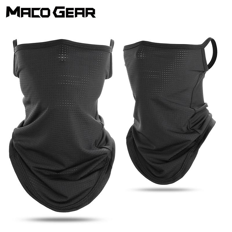 Cycling Bandana Mesh Face Cover Half Mask Hang-Ear Ice Silk Neck Gaiter Cool Tube Scarf Sport Running Hiking Hunting Men Women