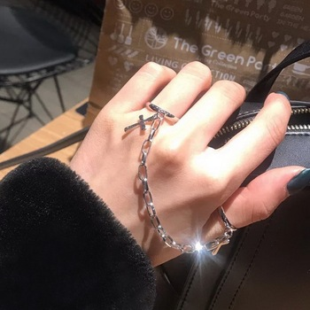 2021 Vintage Cross Chain Ring Adjustable Joint Ring Hip Hop Punk Finger Chain Rings For Women Men Girl Dating Party BFF Jewelry 1