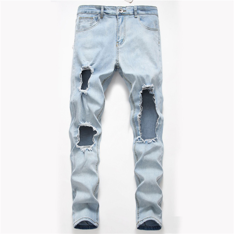 Mens Summer Desinger Hole Jeans Solid Color Fashion Style Homme Clothing Hip Hop Streetwear Casual Apparel