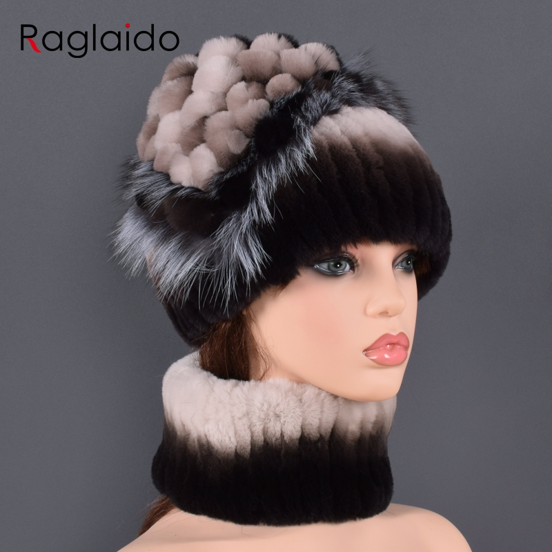 Natural Fur Hat For Winter Women's Real Rabbit Fur Hats New Arrivals Fashion Style Hat Scarf Sets Real Fur Tassel For Lady Caps