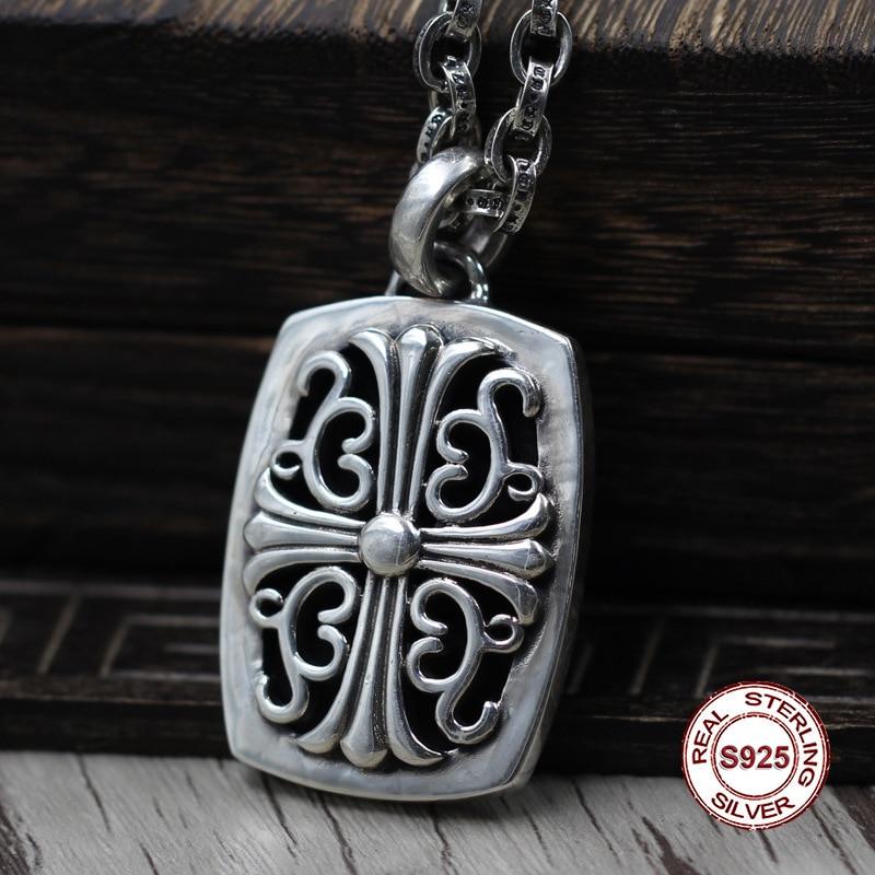 S925 pendentif en argent Sterling personnalité rétro classique Style Punk percé croix étiquette sauvage Unique forme croix bijoux offre spéciale