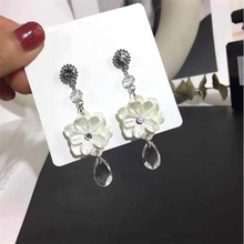 new fashion crystal flower earrings for women silver needle prevent allergy personality waterdrop statement jewelry