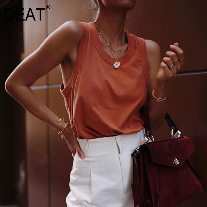 DEAT 2020 Round Neck Sleeveless Short Elastic Pullover T-shirt Female Polyester Top Summer Fashion Tide 7A00901