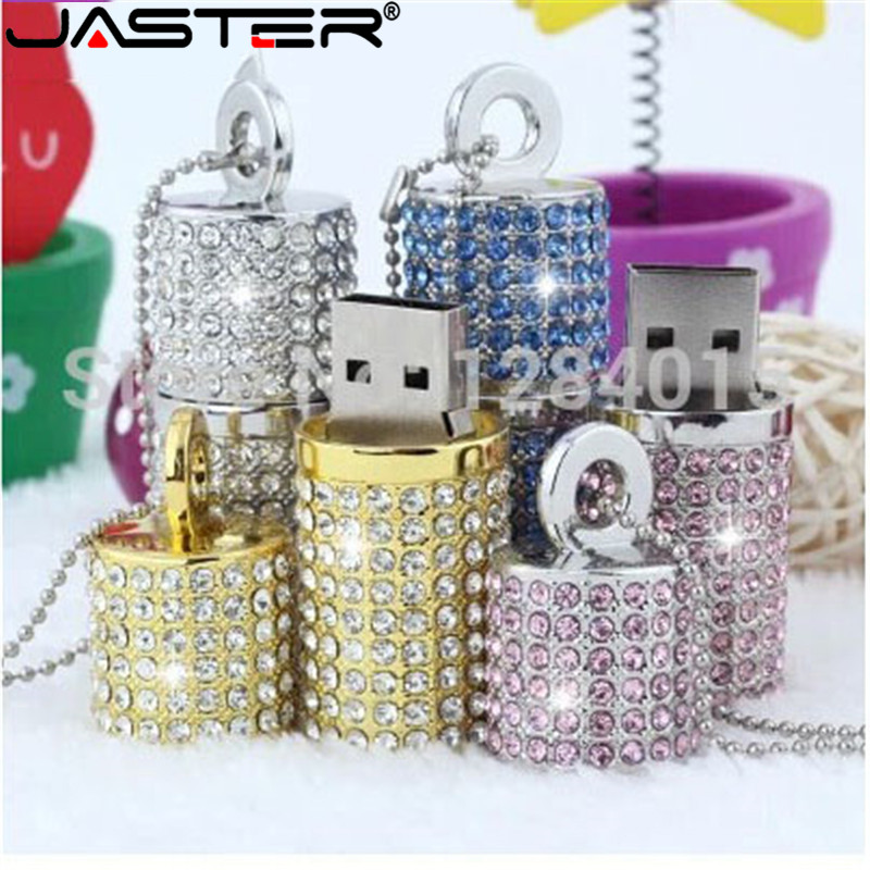 JASTER Crystal Cylindrical USB Flash Drive  Fashion Metal Diamond Pen Driveu Disk Pendrive 4GB 8GB 16GB 32GB 64GB Memory Stick
