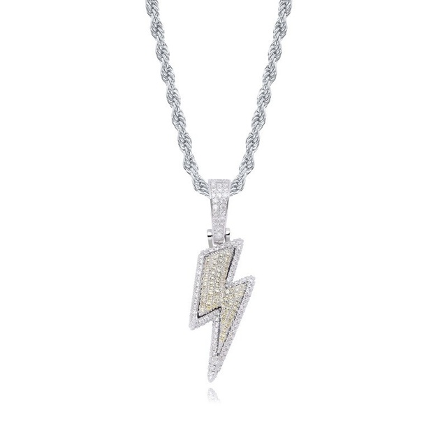 2021 Jewelry Fashion Retro Full Zircon Lightning Necklace Men's Hip Hop Party Locomotive Accessories Pendant Necklace Jewelry 5