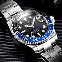 LIGE-Reloj de acero inoxidable para Hombre, accesorio masculino de pulsera resistente al agua 100ATM con mecanismo automático de movimiento de cristal y zafiro, complemento deportivo mecánico de marca superior
